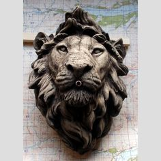 A composition stone lion fountain head