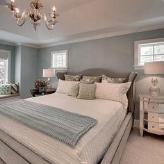 Blue and Gray Bedroom, Contemporary, bedroom, Great Neighborhood Homes