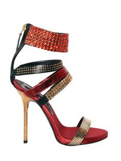 pinterest.com/fra411 #shoes Diego Dolcini Rocking Studded Red, Gold & Black Metal Stiletto Heel Sandal #Shoes #Crystals