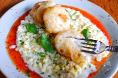 #Flounder #Biegnets with Cream Corn and Pepper Relish