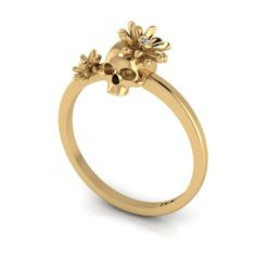 14K Yellow Gold Skull Ring with Flowers on AHAlife