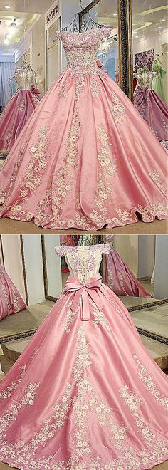 Attractive Tulle & Taffeta Off-the-shoulder Neckline Ball Gown Prom Dresses With Lace Appliques