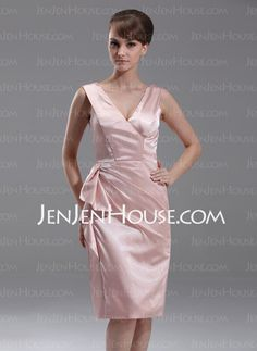 Mother of the Bride Dresses - $115.99 - Sheath Off-the-Shoulder Knee-Length Charmeuse Mother of the Bride Dresses With Ruffle (008005613) http://jenjenhouse.com/Sheath-Off-the-shoulder-Knee-length-Charmeuse-Mother-Of-The-Bride-Dresses-With-Ruffle-008005613-g5613