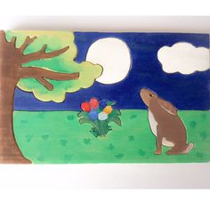 This lovely wooden puzzle of a moon gazing hare is made from solid pine wood and consists of 8 parts. Children can take the bunny out of the puzzle to play with it separately. The puzzle has been hand drawn by myself. It has then been hand cut by scroll saw, painted with non-toxic paint and varnished with an organic varnish (all certified toy safe). All the pieces have been sanded and the edges rounded to make it soft for childrens little hands. All the wood comes from sustainably managed…