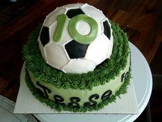 3D Soccer birthday cake covered in marshmallow fondant.