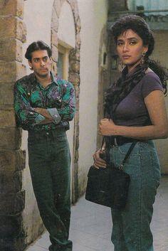Foods For Bloating, Salman Khan Wallpapers, Madhuri Dixit, Retro Fashion, Retro Vintage, Bollywood, India, Actresses, Retro Style