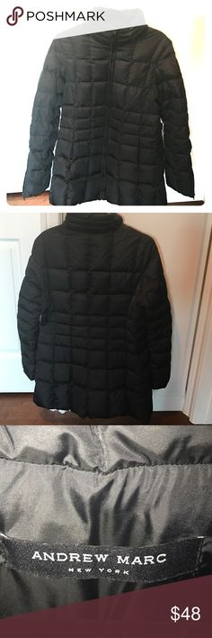 """Andrew Marc quilted jacket Black  down coat, length ~ 32"""". Center front zipper. Two zipped pockets. Andrew Marc Jackets & Coats"""