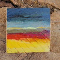 Miniature oil painting, microlandscape, Rothko abstract landscape painting, original artwork de MariaMazaPaintings en Etsy