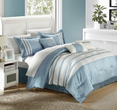 Chic Home Torino Pleated Piecing Luxury Bedding Collection Comforter Set, King, Blue Modern Comforter Sets, Blue Bedding Sets, Bed Comforter Sets, Luxury Bedding Sets, Comforters, Green Comforter, Unique Bedding, Blue Bedroom, Bedroom Decor