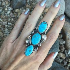 Natural Old Stock Turquoise Mountain 3 Stone Leaf and Scoll Ring | Unique & Stylish Sterling Silver Exotic Stone Jewelry