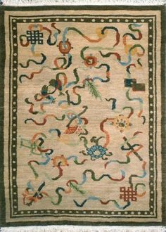 wool Tibetan hand knotted rugs and carpets. Also Kazak, Soumak & tribal rugs and carpets from Nepal, Turkey, Russia. Tibetan Rugs, Traditional Rugs, Tribal Rug, House In The Woods, Rug Hooking, Hand Knotted Rugs, Carpet, Symbols, Beige