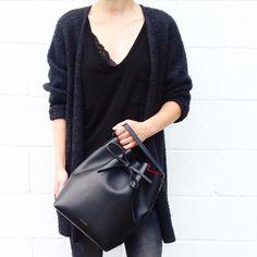 Lace Details. Mansur Gavriel Bucket Bag, Aritzia Lace Bra. -OVRSLO