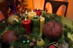 #christmas #centerpiece with color candles