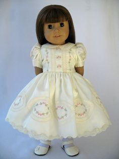 Reserved American Girl Doll Clothes Ivory Satin Batiste Embroidered Dress. $175.00, via Etsy.