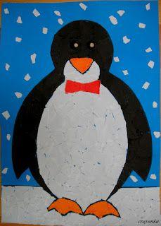 Prace plastyczne - Kolorowe kredki: Pingwin - wydzieranka z wycinanek i wyklejnka z ku...