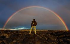 Photographer Miles Morgan took this amazing photo of fellow photographer Bruce Omori surrounded by a rainbow at the Kilaeua volcano. Miles said when you are within about 200 yards of the ocean's edge, the earth you are standing on is nothing but cooled lava, massively unstable. The danger is very acute and very real.