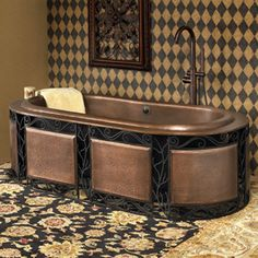 Copper bathtubs – who would have thought of that! Bathroom Design Decor, Copper Bathtubs, Powder Room Decor, Copper Bath, Dream Decor, Copper Tub, Dream Bathrooms, Best Bathtubs, Home Decor Online