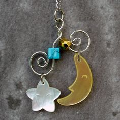 Mother of Pearl Star Moon Design Pendant Necklace with Sterling Silver Chain