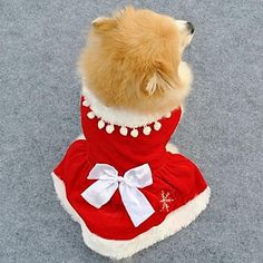 Elegant Red Christmas Style Red Color Fleeces Dress for Pets Dogs (Assorted Sizes) – AUD $ 10.61
