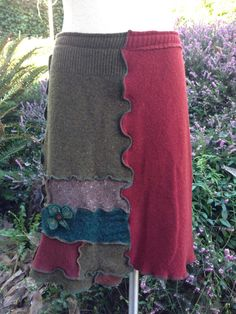 Upcycled Sweater Skirt Wool Patchwork Skirt by danamurphydesigns