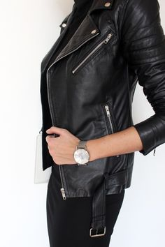 Black leather jackets.