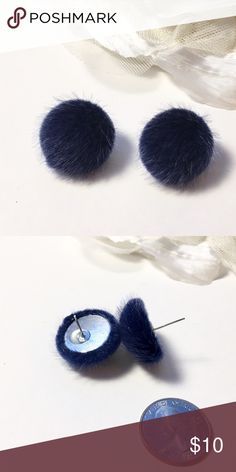 """Adorable Plush Domed Button Style Pierced Earrings Sapphire Blue, Navy, Midnight Blue. Faux Fur. Light weight. As round as a quarter, not quite 1/2"""" High. Fun Fashion Jewelry. New, never worn.❤️ Jewelry Earrings"""