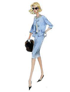 "Barbie Robert Best Print ""Baby Blue Suit"""