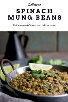 A creamy, saucy and packed with spinach, this Palak Moong is a great accompaniment to both rice and roti. A hearty, comforting lentil dish that is perfect for any meal. #cookshideout #vegetarian #lentils