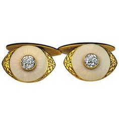 Marchak Antique Russian Enamel Diamond Gold Cufflinks