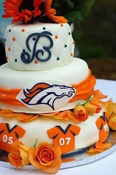 How About This For A Broncos Themed Wedding Cake Denver