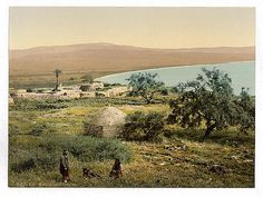 An old photo of the village of Magdala (home of Mary Magdalene), on the shores of the Sea of Galilee, circa 1900,