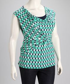 Take a look at this Mint Twist Plus-Size Layered Top by Tua Plus on #zulily today!