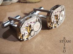 Mens Steampunk - Steampunk Cufflinks 18mm round vintage Russian watch movements. Vintage upcycled mens Cuff Links