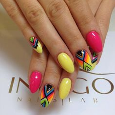 by Patrycja, Madeleine Studio. Follow us on Pinterest. Find more inspiration at www.indigo-nails.com #nailart #nails #aztec #yellow