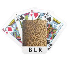 Leopard Print monogram initials merchandise Card Decks