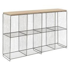 Too expensive, but illustrates how wood can be used to dress up a wire shelf unit. Could put wood on the sides, too.