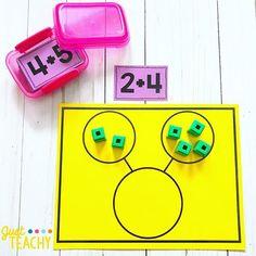 No photo description available. Kindergarten Math Activities, Montessori Math, Preschool Learning, Kindergarten Classroom, Fun Math, Teaching Math, Classroom Decor, Kindergarten Addition, Teaching Tips