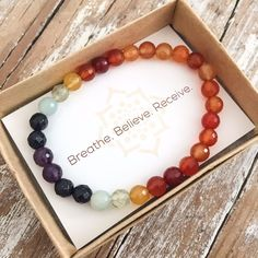 The 7 Chakras are the energy centers in our body in which energy flows through. Each beautiful gemstone in the Chakra Balancing Bracelet has been chosen to represent the seven major chakras of your bo
