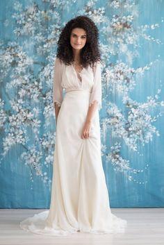 Karlin - Emmaline Bridal   #silk #bridal #sleeves #openback #bridalgown #bride