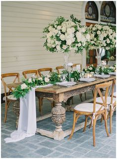 Elegant Romantic Centerpieces, Rose Centerpieces, Newhall Mansion, Large Floral Arrangements, High School Sweethearts, Green Accents, Romantic Weddings, Luxury Wedding, Beautiful Bride