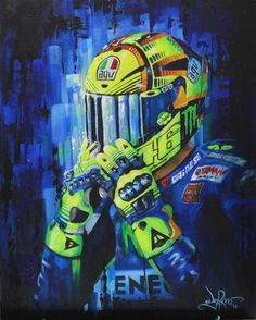 Valentino Rossi Painting MotoGP Racing Art – Sport is lifre Motogp Valentino Rossi, Valentino Rossi 46, Valentino Couture, Valentino Rossi Helmet, Bike Art, Motorcycle Helmets, Motorcycle Shop, Velentino Rossi, Moto Enduro