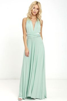 "Lulus Exclusive! Versatility at its finest, the Tricks of the Trade Light Sage Maxi Dress knows a trick or two... or four! Two, 76"" long lengths of minty-sage fabric sprout from an elastic waistband and wrap into a multitude of bodice styles including halter, one-shoulder, cross-front, strapless, and more. Stretchy, jersey knit hugs your curves as you discover new ways to play with this fascinating frock. Full, maxi-length skirt has a raw hemline. Want Styling Tips? <a…"