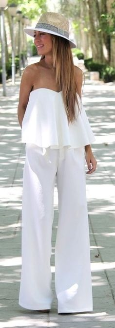 Summer Fashion 2014. Loving this all white jumpsuit and fedora. ::M::