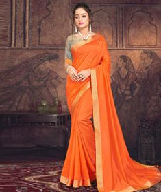 Chanderi Silk Chanderi Silk Saree, Silk Sarees, Long Cut, Orange Fabric, Blouse Online, How To Dye Fabric, Head To Toe, Festival Wear, Color Shades