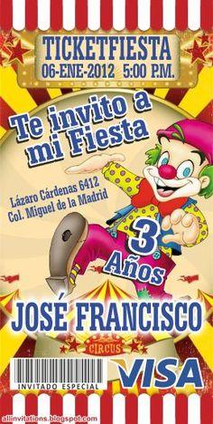 Plantilla de Invitación tipo Ticketmaster con el tema de Payaso de Circo