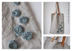 Linen tote with fabric flowers