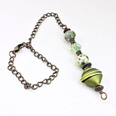 Olive Green Beaded Car Charm, Auto Hanging Rear View Mirror Window Ornament Accessory Jewelry