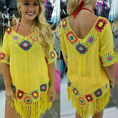 Beach dress You are in the right place about crochet patterns Here we offer you the most beautiful pictures about the crochet you are looking. Crochet Tunic Pattern, Gilet Crochet, Crochet Blouse, Crochet Stitches, Knit Crochet, Crochet Patterns, Hand Crochet, Crochet Shoes, Crochet Clothes