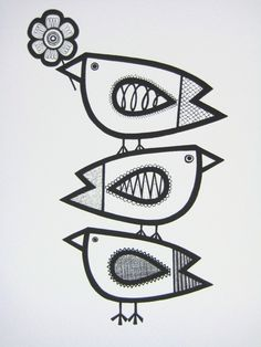 i love these birds! silk screen print of pen and ink illustration contemporary folk style