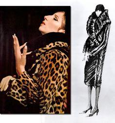 Barbra Streisand Archives | Funny Girl (film) 1968 | Irene Sharaff Designed Costumes.  (Above: Streisand's leopard coat and Shariff's original sketch for it.)